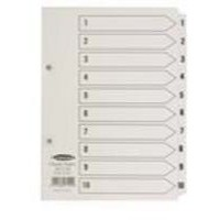 Concord Classic Index Mylar-reinforced Punched 2 Holes 1-10 A5 White Ref 07101/CS71