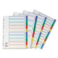 Concord Plastic Subject Dividers Polypropylene 120 Micron Europunched 10-Part A4 Assorted Ref 06901