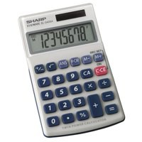Image for Sharp Calculator Handheld Battery Solar-power 8 Digit 3 Key Memory 70x116x16mm Ref EL240SAB