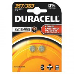 Duracell Battery Silver Oxide for Calculator or Pager 1.5V Ref D357 [Pack 2]