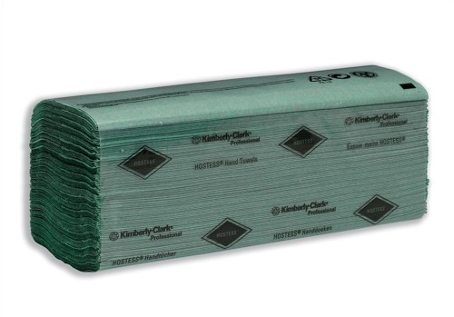 Hostess Hand Towels Single Ply 224 Sheets Per Sleeve 240x240mm Green Code 6871
