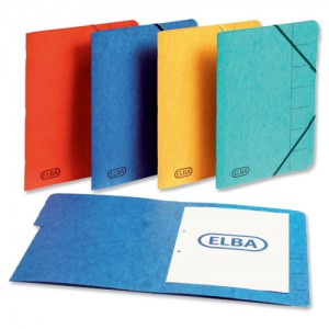 Elba Organiser File Pressboard Elasticated 9-Part Foolscap Blue Ref 100090172 [Pack 5]