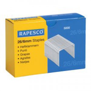 Rapesco Staples 26/6mm Box 5000 Code S11662Z3