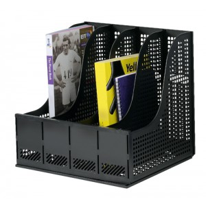 Storage Rack for Lever Arch Polypropylene 4 Sections Black