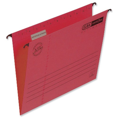 Elba Verticflex Ultimate Suspension File Manilla 240gsm A4 Red Ref 100331154 [Pack 25]