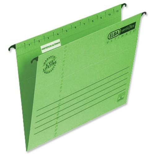 Elba Verticflex Ultimate Suspension File Manilla 240gsm Foolscap Green Ref 100331170 [Pack 25]