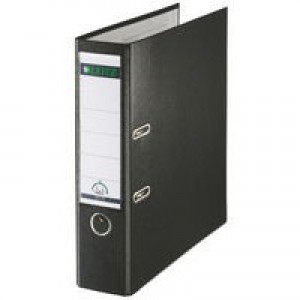Leitz Lever Arch File Plastic 80mm Spine Foolscap Black Ref 11101195 [Pack 10]