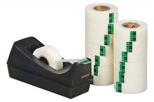 Scotch Magic Tape 900 Roll Natural Fibre Film 19mmx33m Matt Ref 9-1933R14C38 [Pack 14 and C38 Dispenser]