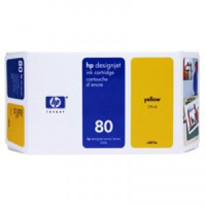 HP No.80 Inket Cartridge 175ml Yellow Code C4873A