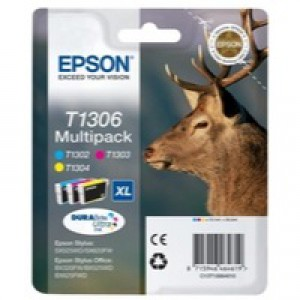Epson T1306 Inkjet Cartridge Stag XL Capacity 30.3ml Cyan/Magenta/Yellow Ref C13T13064010 [Pack 3]