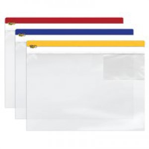 INDX Zip Pouch Heavy-duty PVC Clear with Coloured Seal A4 Assorted