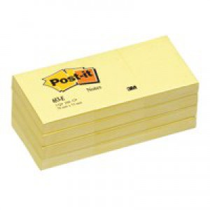 Post-it Recycled Notes Pad of 100 38x51mm Canary Yellow Ref 653-1YE [Pack 12]