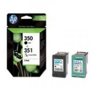 Hewlett Packard [HP] No. 350 & No. 351 Inkjet Cartridge Combo Pack 200pp Black and Colour Ref SD412EE