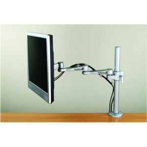 LCD Desktop Mount 2 Way Adjustable Monitor Arm Up To 22in Holds 10kg Silver