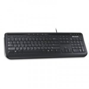 Microsoft 600 Wired Keyboard USB Media Centre Quiet-Touch Keys Spill Resist Design Black ANB-00006