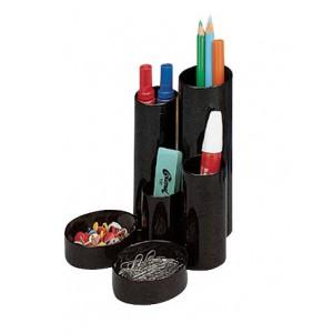 Desk Tidy 5 Tube & 2 Shallow Trays Black