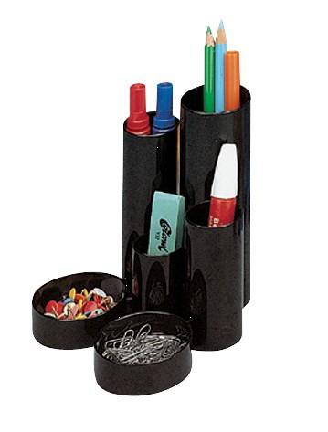 Desk Tidy 5 Tube Holders 2 Shallow Trays Black