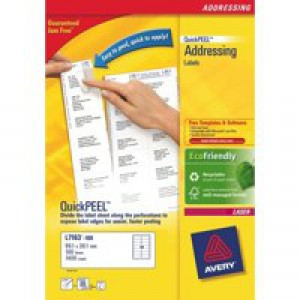 Avery White Laser Labels For Addressing 100 Sheets 2100 Labels Size 63.5x38.1mm FSC Code L7160-100