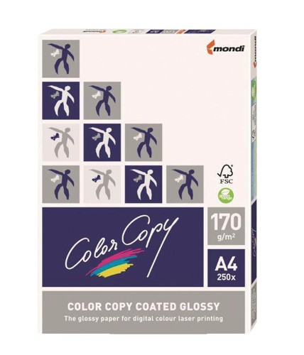 Color Copy Paper Coated Glossy White FSC4 A4 210x 297mm 170gm Pack 250