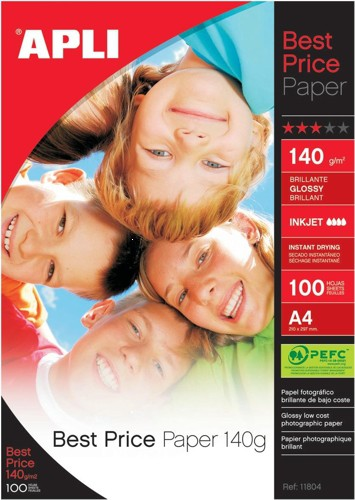 Apli Best Price Photo Paper Glossy 140gsm A4 Ref 11804 [100 Sheets]