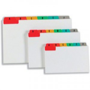 Guide Cards Reinforced A-Z 152x102mm White with Tabs Multicoloured