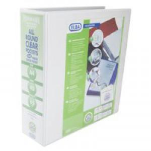 Elba Presentation Ring Binder PVC 4 D-Ring 65mm Capacity A4 White Ref 400008673 [Pack 4]