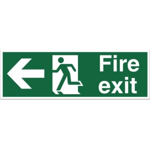 Stewart Superior Fire Exit Sign Man and Arrow Left 450x150mm Self-adhesive Vinyl Ref SP120SAV