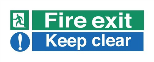 Stewart Superior Fire Exit Sign Keep Clear 450x150mm Self-adhesive Vinyl Ref SP126SAV