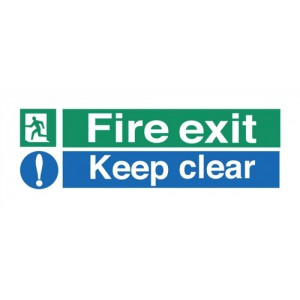 Stewart Superior Fire Exit Sign Keep Clear 450x150mm Polypropylene Ref SP126PVC