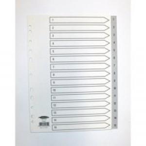 Concord Grey Polypropylene Index A4 1-15 62605