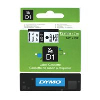 Dymo D1 Tape for Electronic Labelmakers 12mmx7m Black on White Ref 45013 S0720530