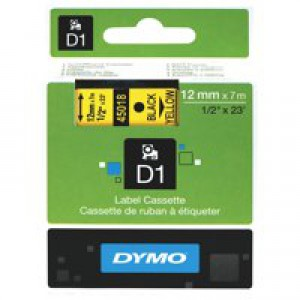 Dymo D1 Tape for Electronic Labelmakers 12mmx7m Black on Yellow Ref 45018 S0720580