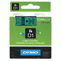 Dymo D1 Tape for Electronic Labelmakers 12mmx7m Black on Green Ref 45019 S0720590