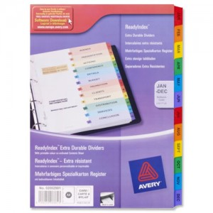 Avery ReadyIndex Dividers Card Mylar Tabs A4 10-Part Ref 01971501 L7451-10