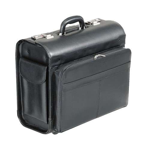 Alassio San Remo Trolley Pilot Case Multi-section 2 Combination Locks Leather-look Black Code 45030