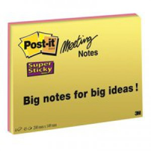 3M Post-it SuperSticky Meeting Notes 8x6 Bright Colours Code 6845-SSP