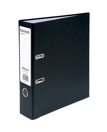 Rexel Karnival Lever Arch File Paper over Board Slotted 70mm A4 Black