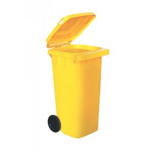 Wheelie Bin High Density Polythene with Rear Wheels 120 Litre Yellow