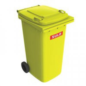 Wheelie Bin High Density Polythene with Rear Wheels 240 Litre Yellow