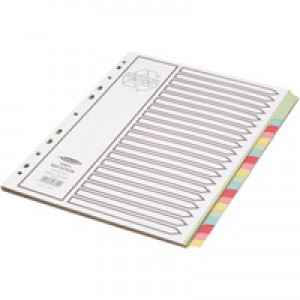 Concord Recycled Dividers 230 micron Card with Coloured Tabs 20-Part A4 White Ref 48699