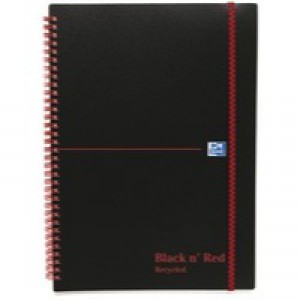 Black n Red Book Wirebound Recycled Polypropylene 90gsm 140pp A5 Ref 100080221 [Pack 5]