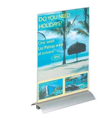 Durable Presenter Sign and Literature Holder Desktop Acrylic With Metal Base A4 Clear Code 8589/19