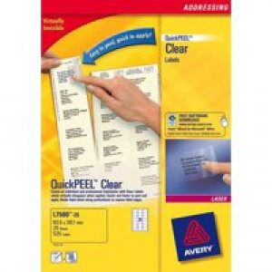 Avery Mini Labels Laser 65 per Sheet 38.1x21.2mm Clear Ref L7551-25 [1625 Labels]