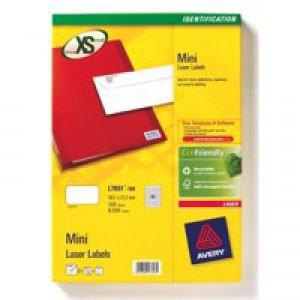 Avery Mini Labels Laser 65 per Sheet 38.1x21.2mm White Ref L7651-25 [1625 Labels]