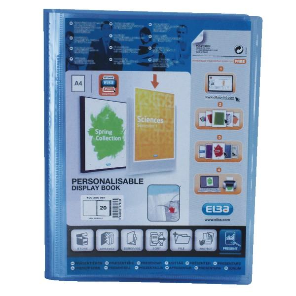 Elba Polyvision Display Book Polypropylene 20 Clear Pockets A4 Blue Ref 100206087