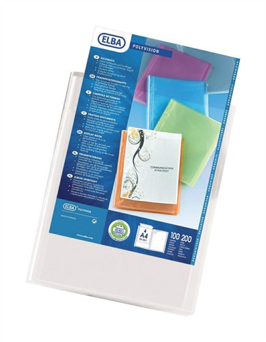 Elba Polyvision Display Book Polypropylene 20 Clear Pockets A4 Clear Code 100206088
