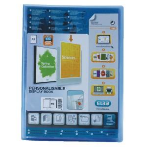 Elba Polyvision Display Book Polypropylene 40 Clear Pockets A4 Blue Ref 100206231