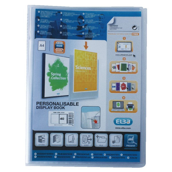 Elba Polyvision Display Book Polypropylene 40 Clear Pockets A4 Clear Code 100206232