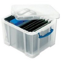Really Useful Storage Box Plastic Lightweight Robust Stackable 35 Litre W390xD480xH310mm Clear Ref 35C