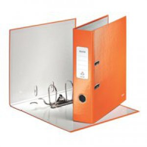 Leitz WOW Lever Arch File A4 80mm Spine for 250 Sheets Orange Metallic